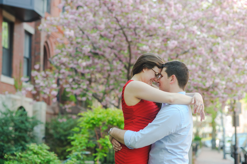 Boston cherry blossom engagement session