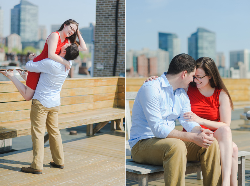 Boston skyline fun engagement session