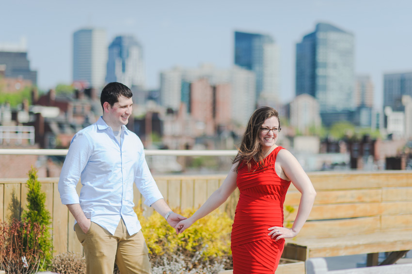 Boton rooftop skyline engagment session