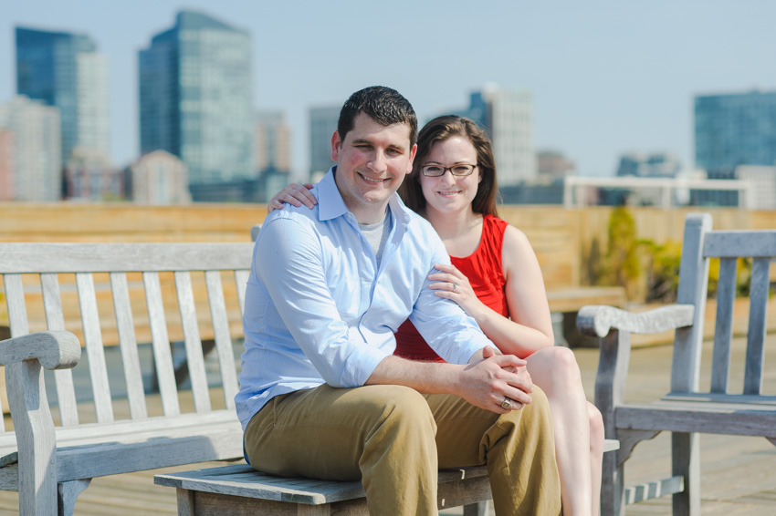 relaxed rooftop skyline engagement session