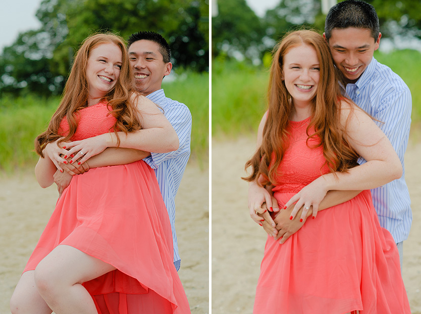 Carson Beach playful engagement session