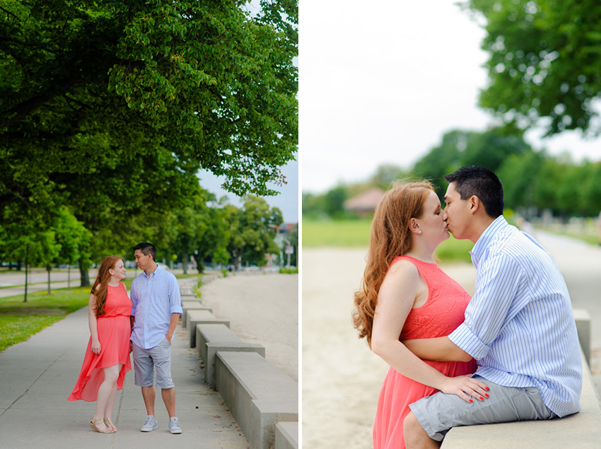 beach pink dress engagement session