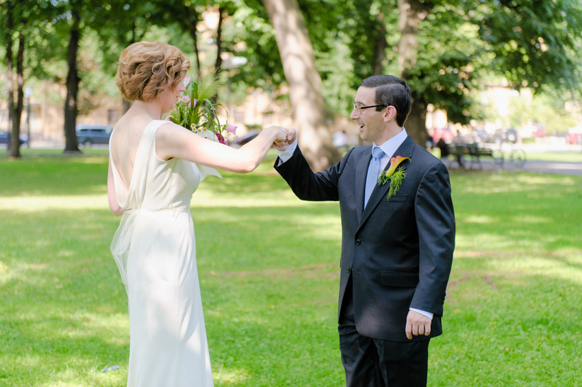 bride and groom wedding fist bump