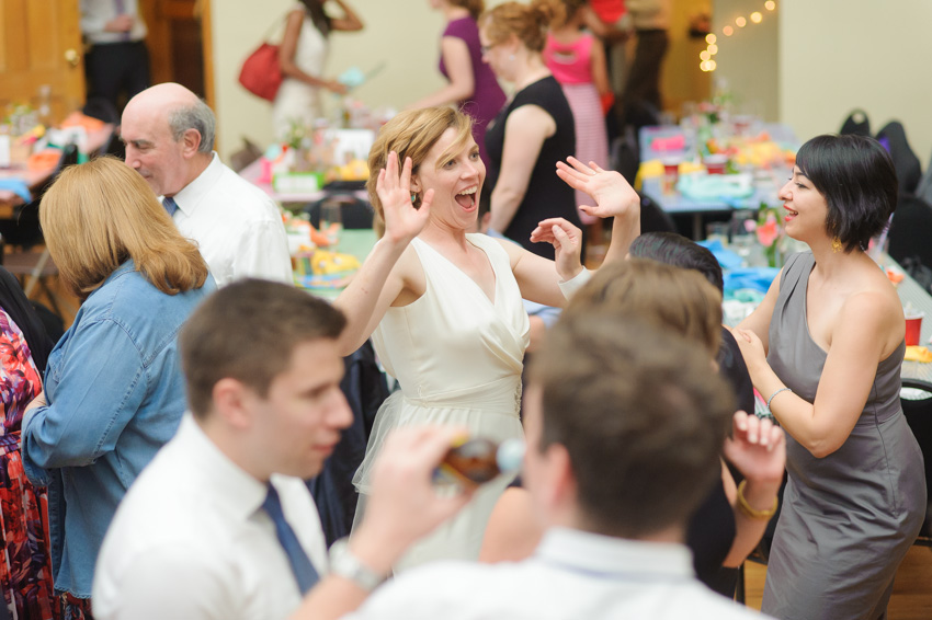 bride having fun on reception dance floor
