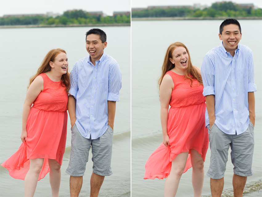 fun loving couple Boston beach engagement session