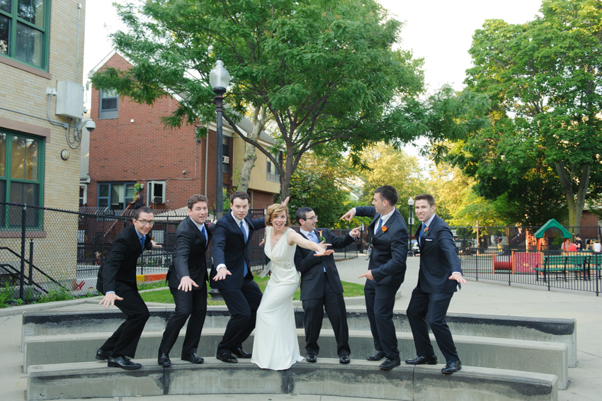 fun wedding party surf pose
