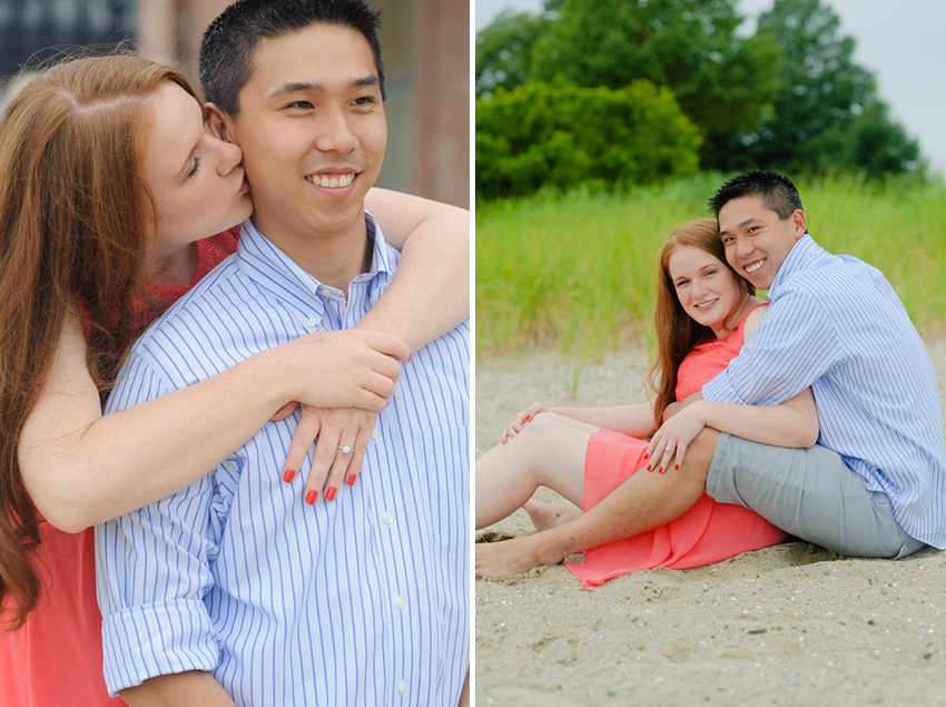 interracial Asian groom American bride couple engagement