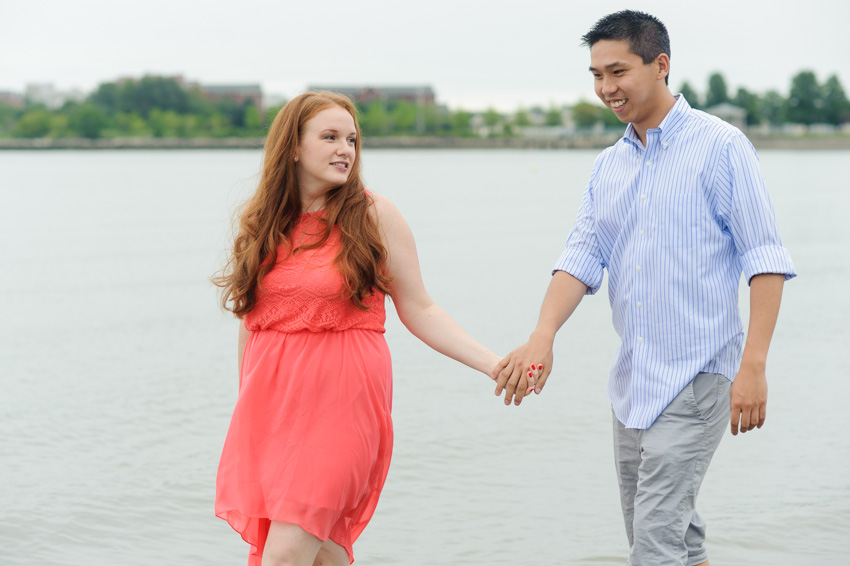 interracial wedding Asian groom American bride beach engagement session