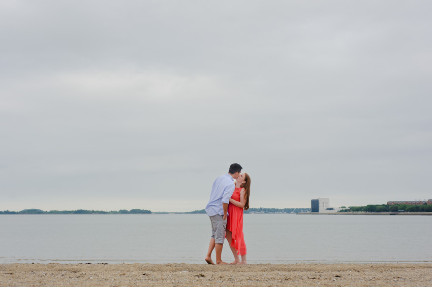 overcast engagement session at Carson Beach
