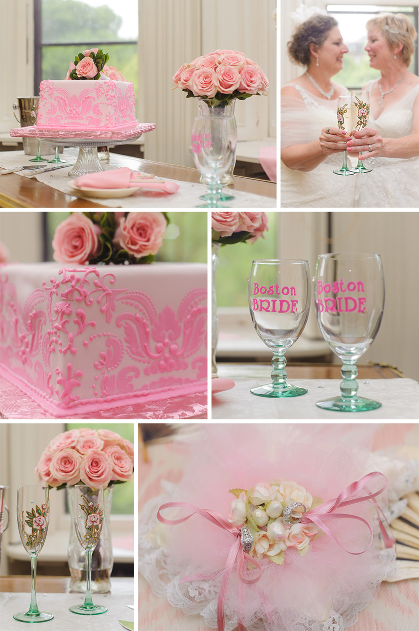 pink color theme lesbian wedding cake decor