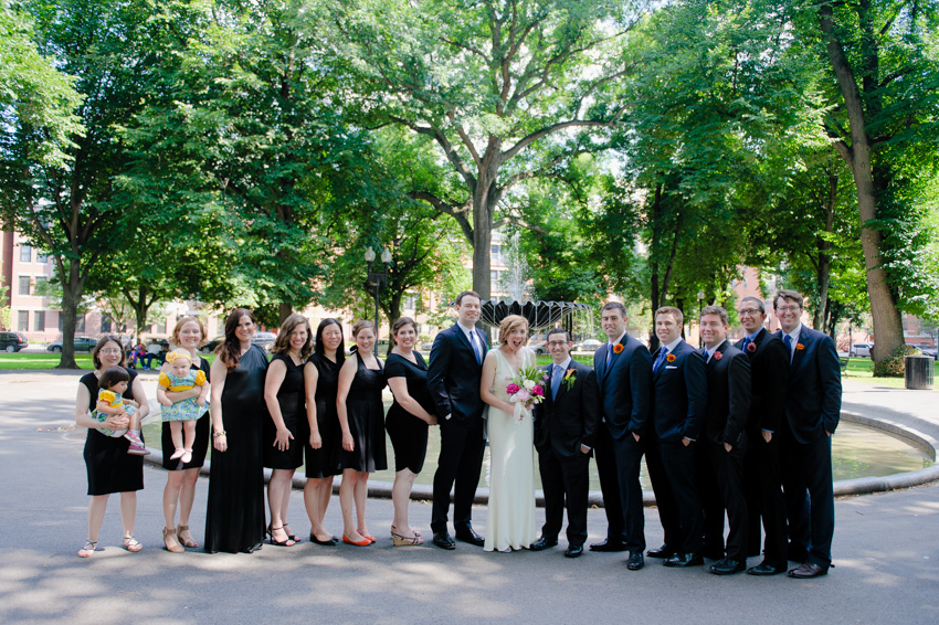 summer Boston wedding bridal party water fountain