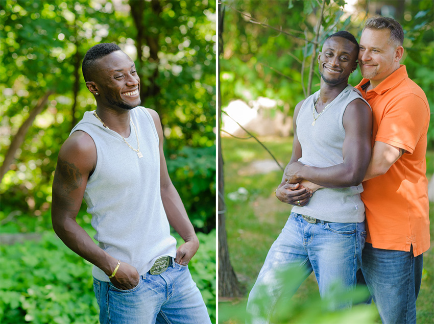 casual and happy interracial couple engagement session