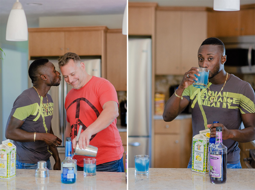 gay couple at home making a drink