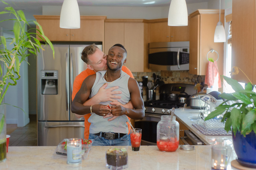intimate gay engagement session at home