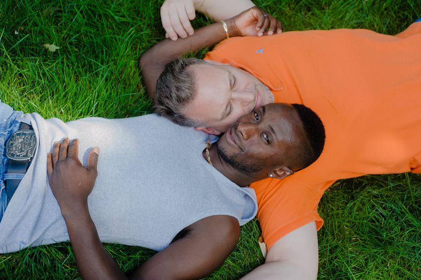 summer backyard gay couple engagement session