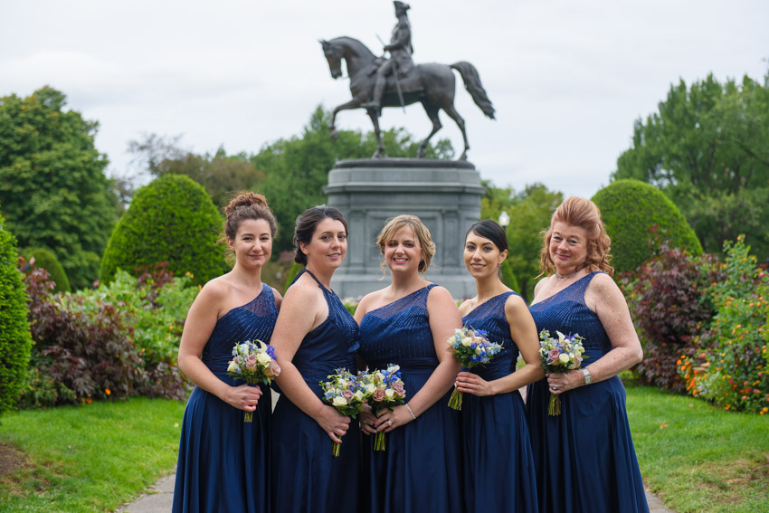 Boston Public Garden wedding bridal party