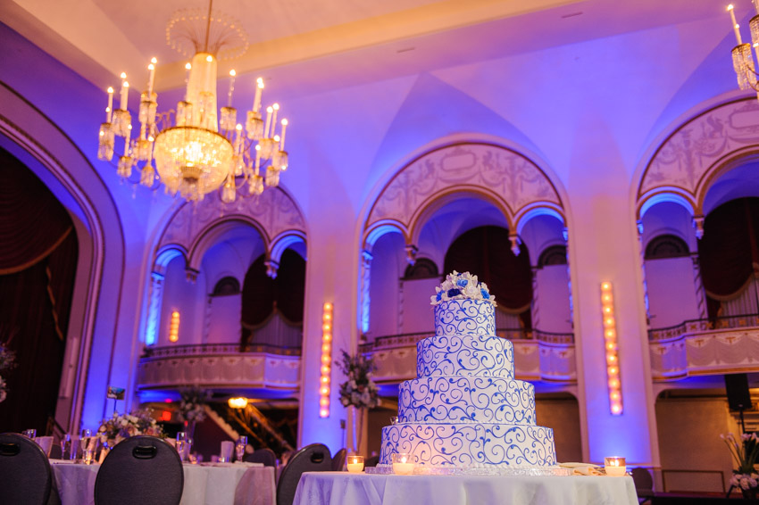 Boston Park Plaza wedding cake uplighting