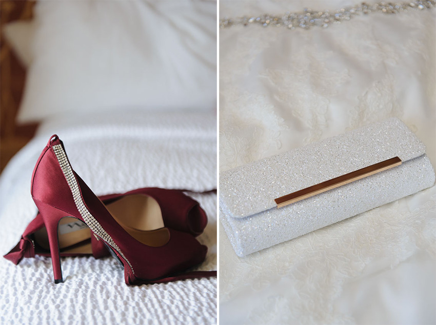 wedding shoes and purse