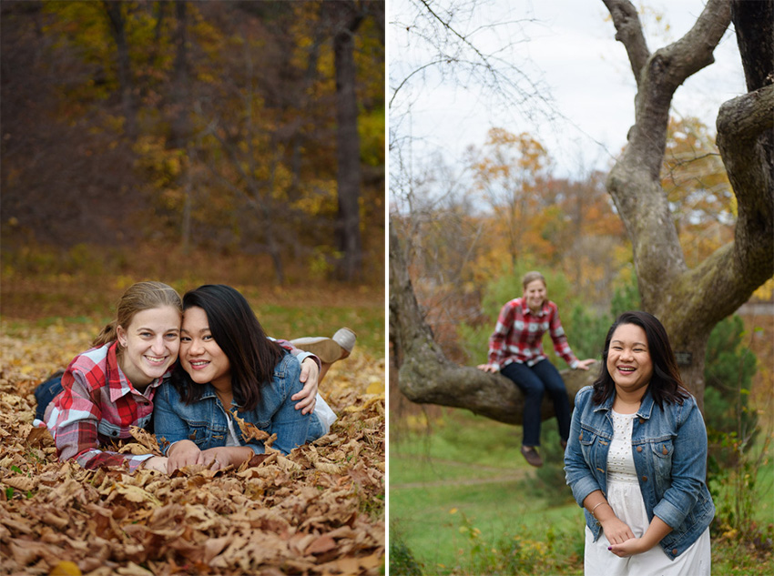 Boston fall foliage engagement session