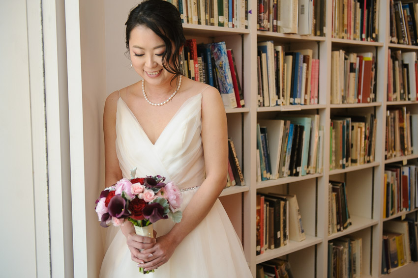 DeCordova book room bride portrait
