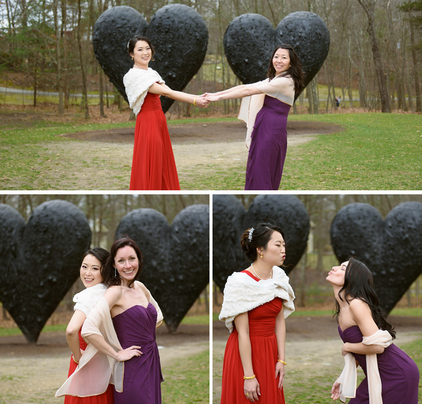 DeCordova heart shape sculpture wedding party