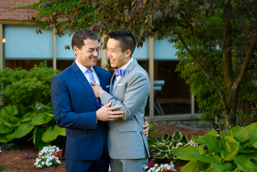 same-sex wedding Hyatt Cambridge courtyard