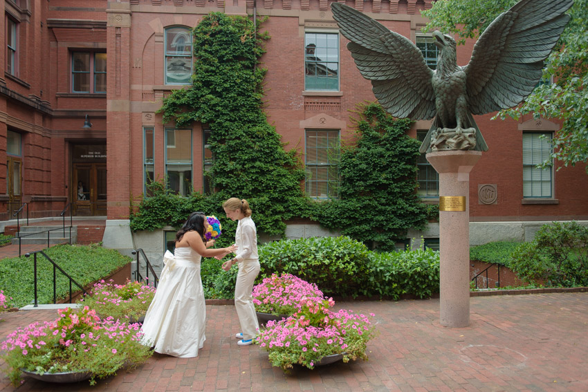 lesbian wedding first look Boston