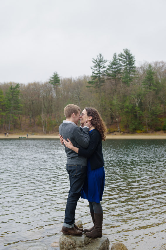 fun couple engagement session Walden pond