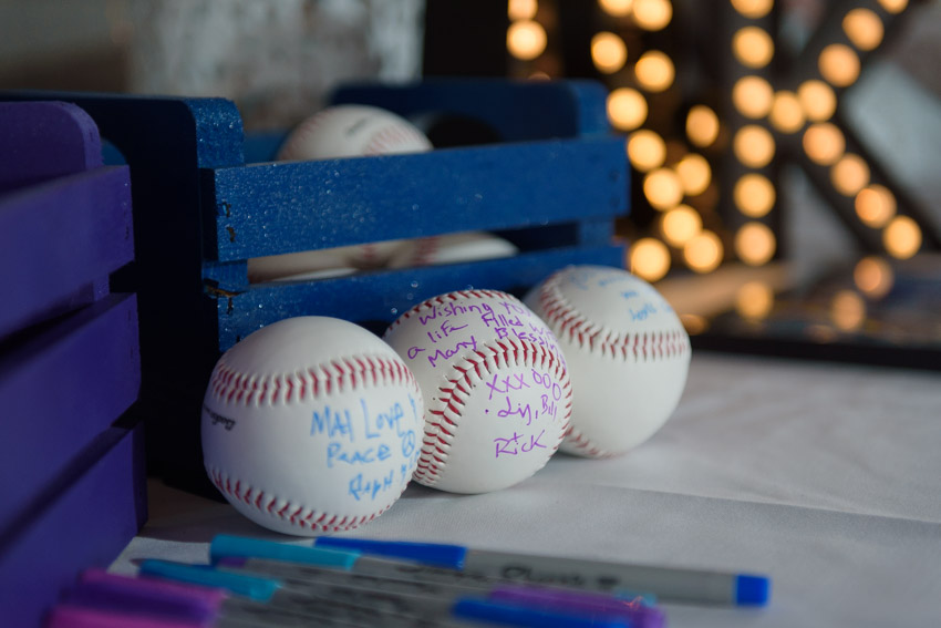 wedding guest greetings on baseballs
