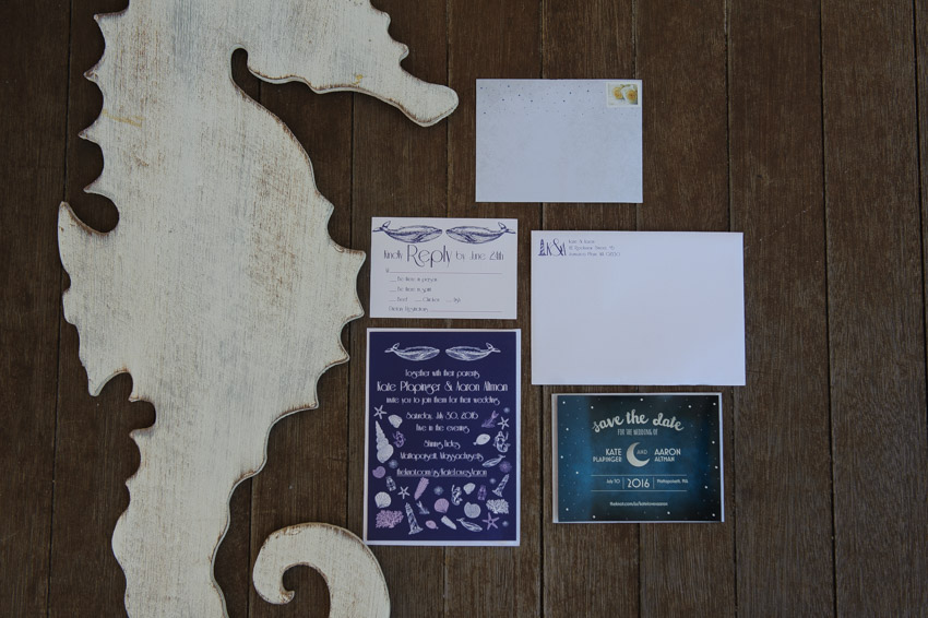 wedding invitation beach seahorse
