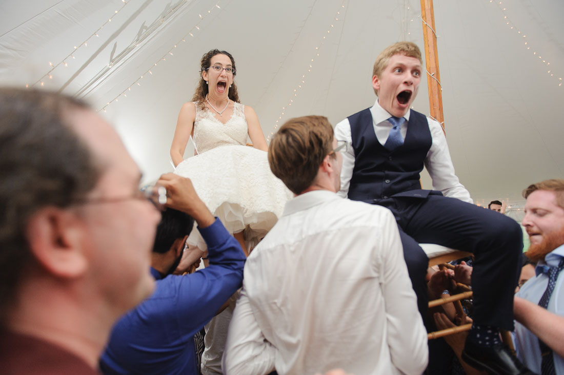 Jewish wedding hora Pierce House tent