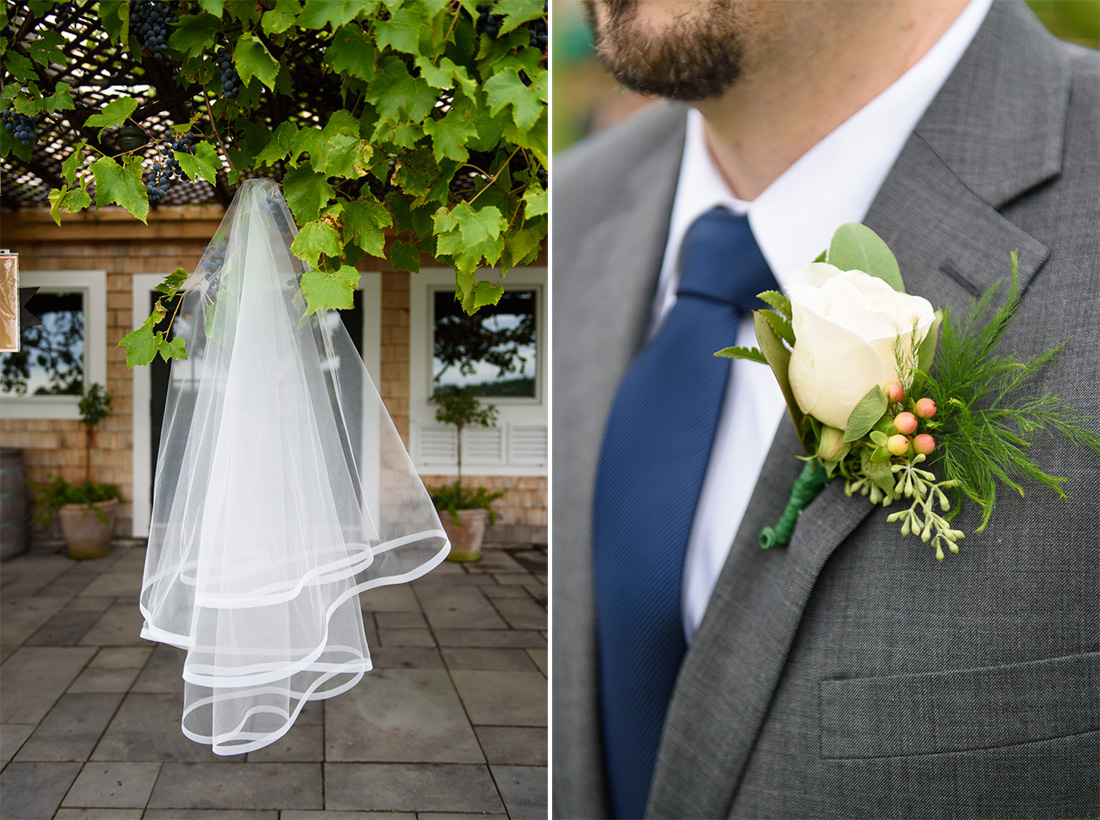 wedding veil and boutonniere
